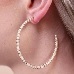 Jewelry - Thin Beaded Hoop Pearl Earring